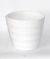 Pot en plastique blanc brillant cache pot H 14 cm Blanc neige