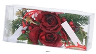 Composition Rose et sapin noel 2 pcs par box 14cm artificielle