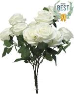 Bouquet de rose Paris artificielle, 10 têtes, H 42 cm Blanc neige - BEST