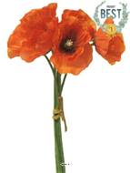 Bouquet de Pavot artificiel, H 29 cm Orange - BEST