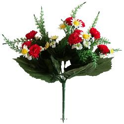 Bouquet de Marguerites et mini oeillets artificiels Hauteur 28 cm Top Rouge
