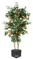 Oranger artificiel tronc naturel en pot avec fruits H 150 cm Orange