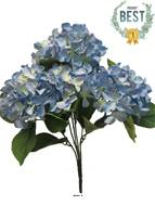 Bouquet d'Hortensia artificiel en branche, H 45 cm Bleu royal - BEST